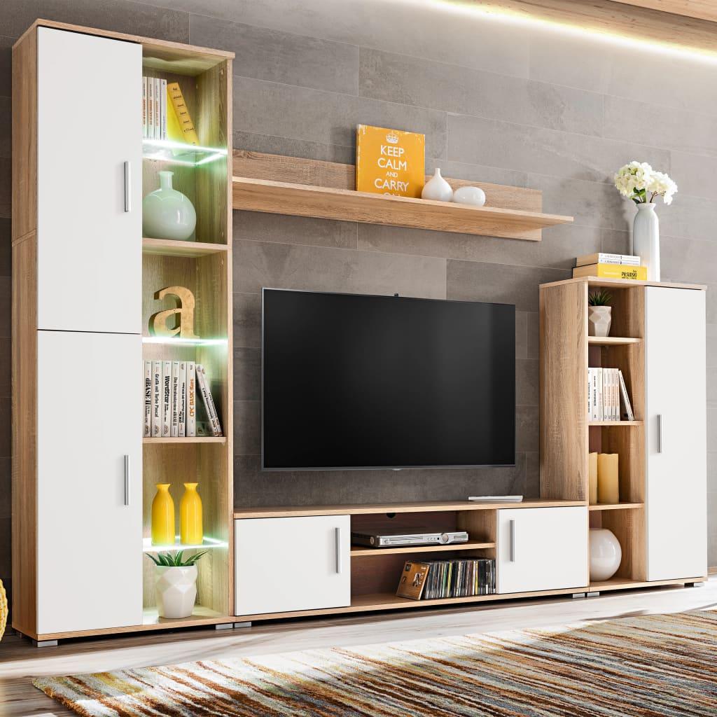 vidaXL TV-veggenhet med LED-lys sonoma eik og hvit