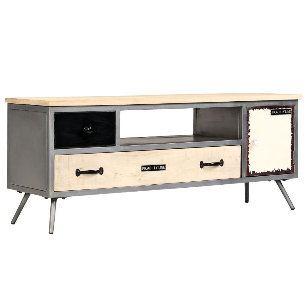 vidaXL TV-benk heltre mango og stål 120x30x45 cm