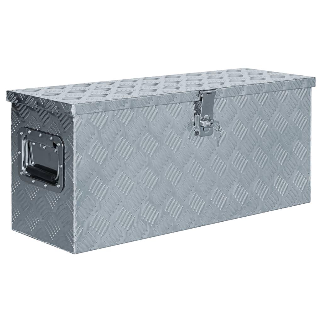 vidaXL Aluminiumsboks 76,5x26,5x33 cm sølv