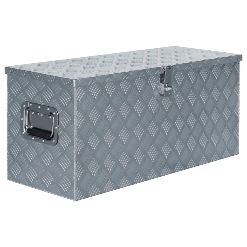 vidaXL Aluminiumsboks 90,5x35x40 cm sølv