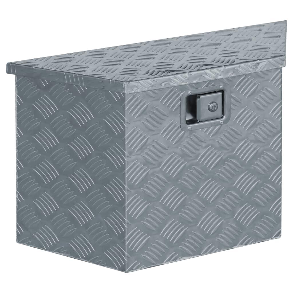 vidaXL Aluminiumsboks 70x24x42 cm trapesformet sølv