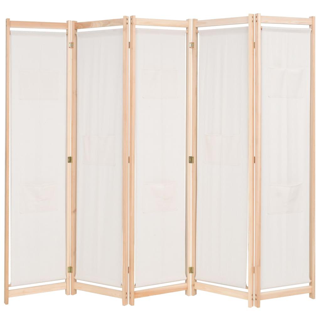vidaXL Romdeler 5 paneler krem 200x170x4 cm stoff