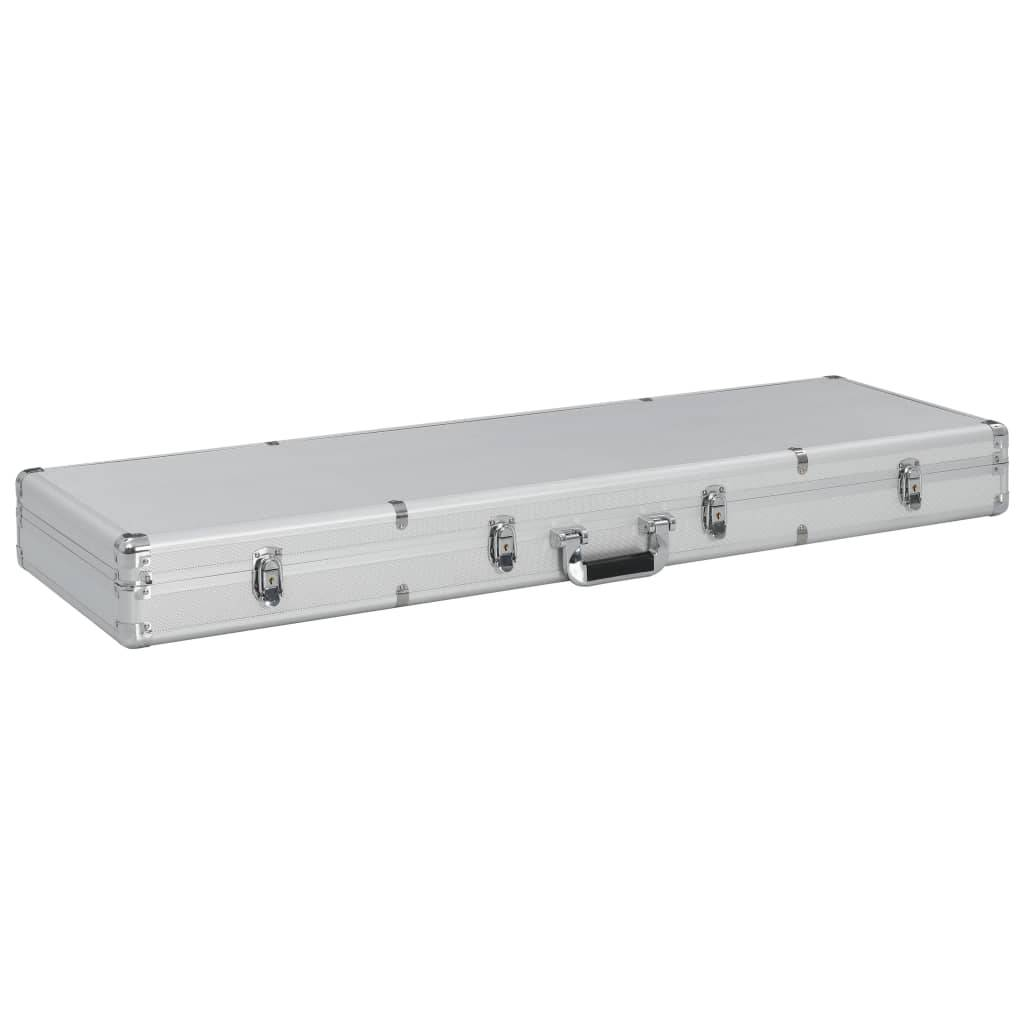 vidaXL Pistolkoffert aluminium 118x38x12 cm sølv