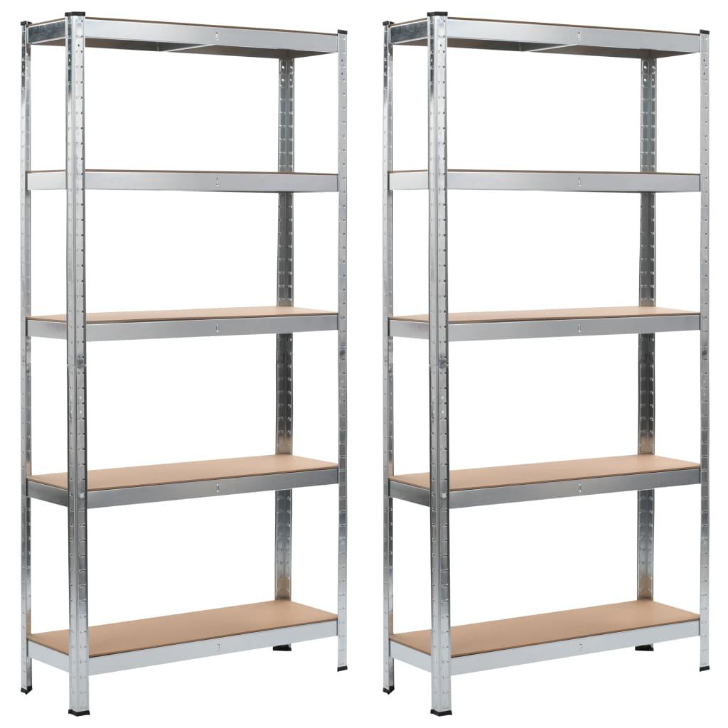 vidaXL Oppbevaringshyller 2 stk sølv 90x30x180 cm stål og MDF