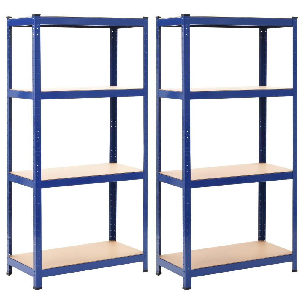 vidaXL Oppbevaringshyller 2 stk blå 80x40x160 cm stål og MDF