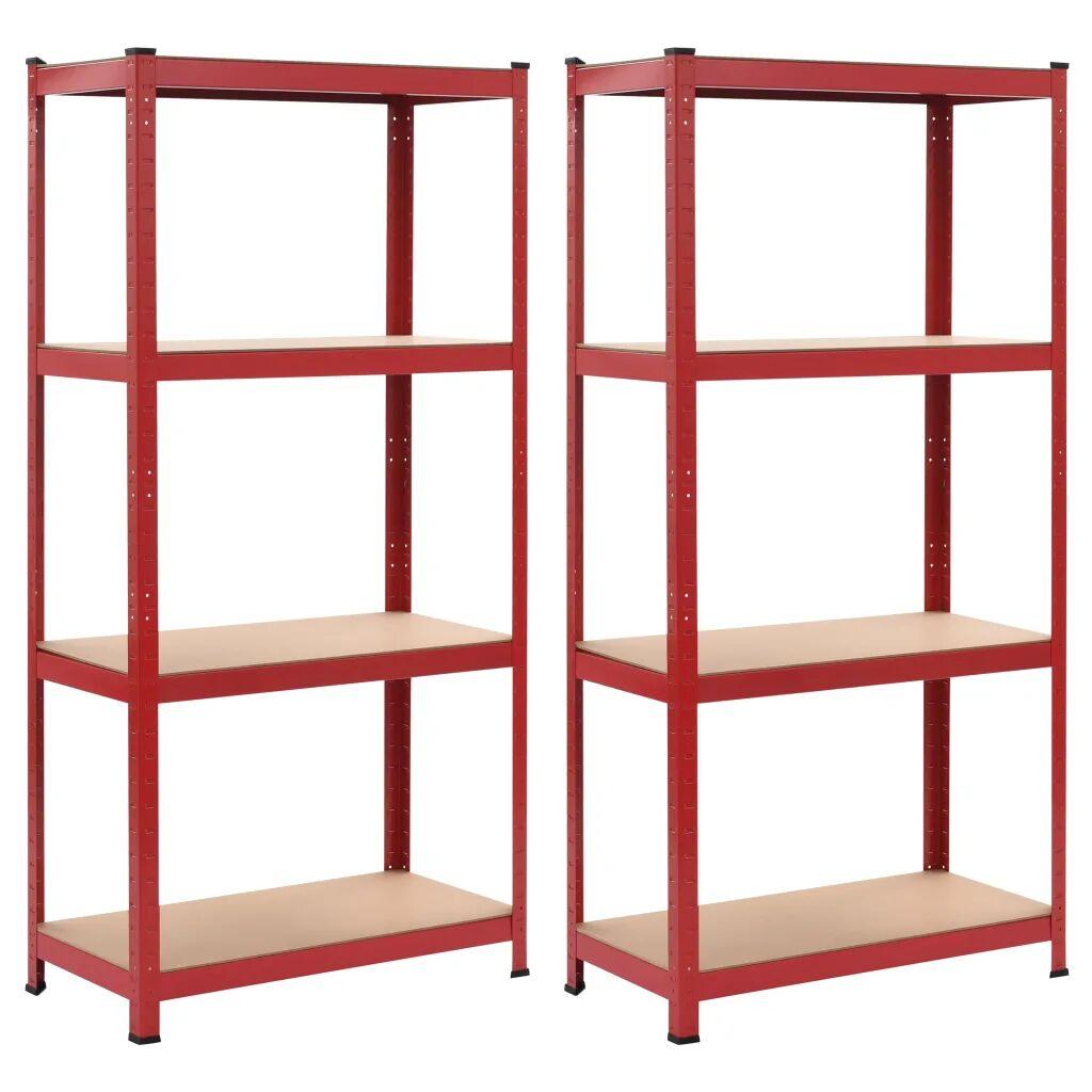 vidaXL Oppbevaringshyller 2 stk rød 80x40x160 cm stål og MDF