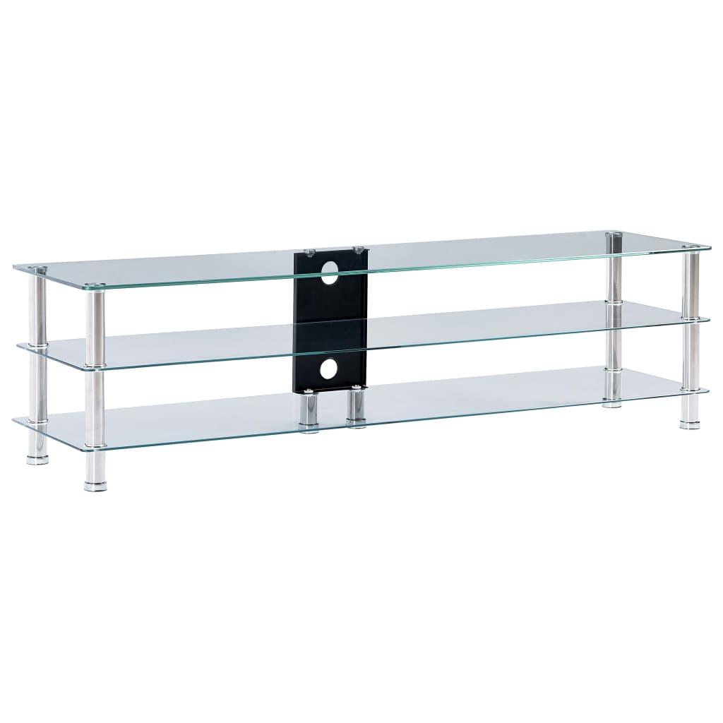 vidaXL TV-benk gjennomsiktig 150x40x40 cm herdet glass