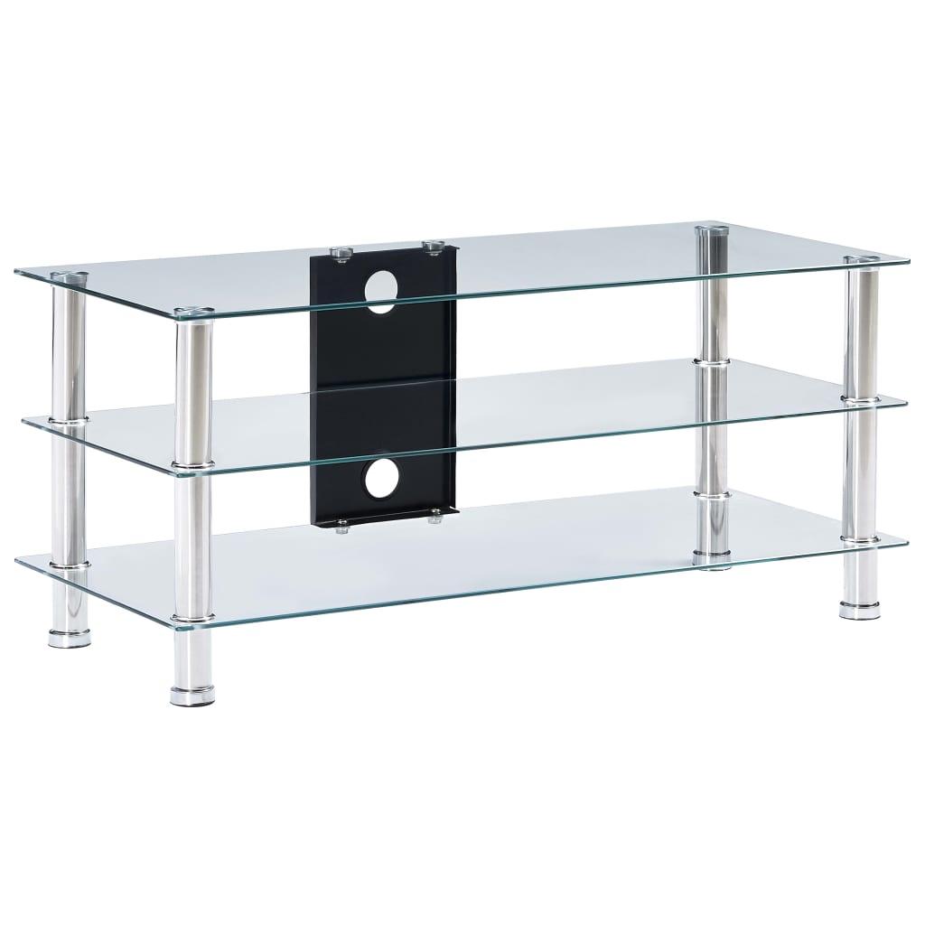 vidaXL TV-benk gjennomsiktig 90x40x40 cm herdet glass