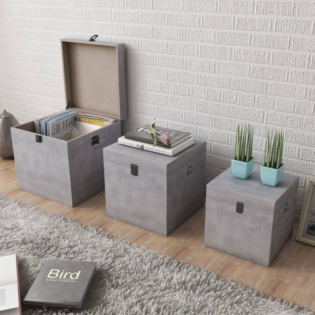 vidaXL Oppbevaringsboks 3 stk firkantet grå betong MDF