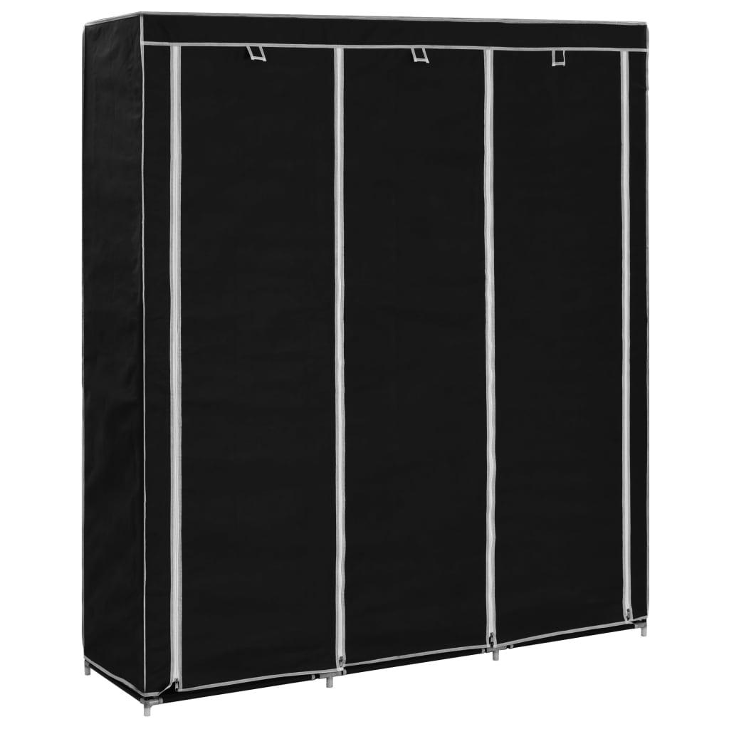 vidaXL Garderobe med skap og stenger svart 150x45x175 cm stoff