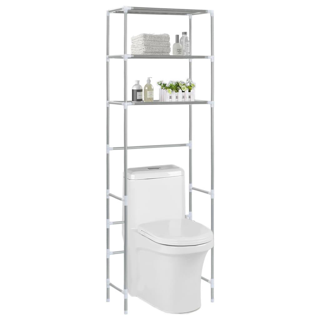 vidaXL Oppbevaringsstativ til toalett 3 etasjer sølv 53x28x169 cm