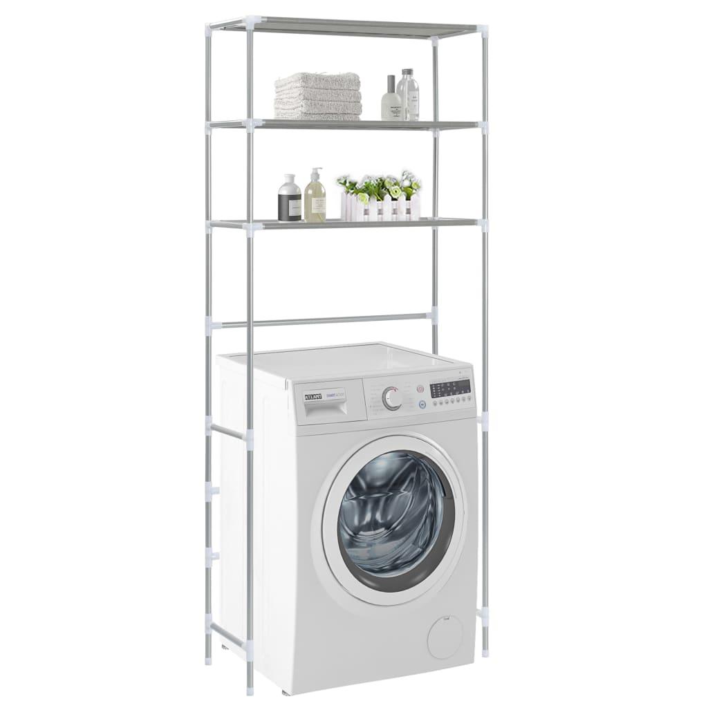 vidaXL Oppbevaringsstativ til vaskemaskin 3 etasjer sølv 69x28x169 cm