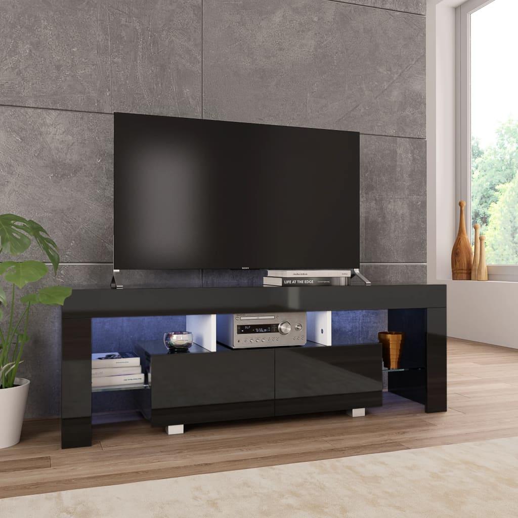 vidaXL TV-benk med LED-lys høyglans svart 130x35x45 cm