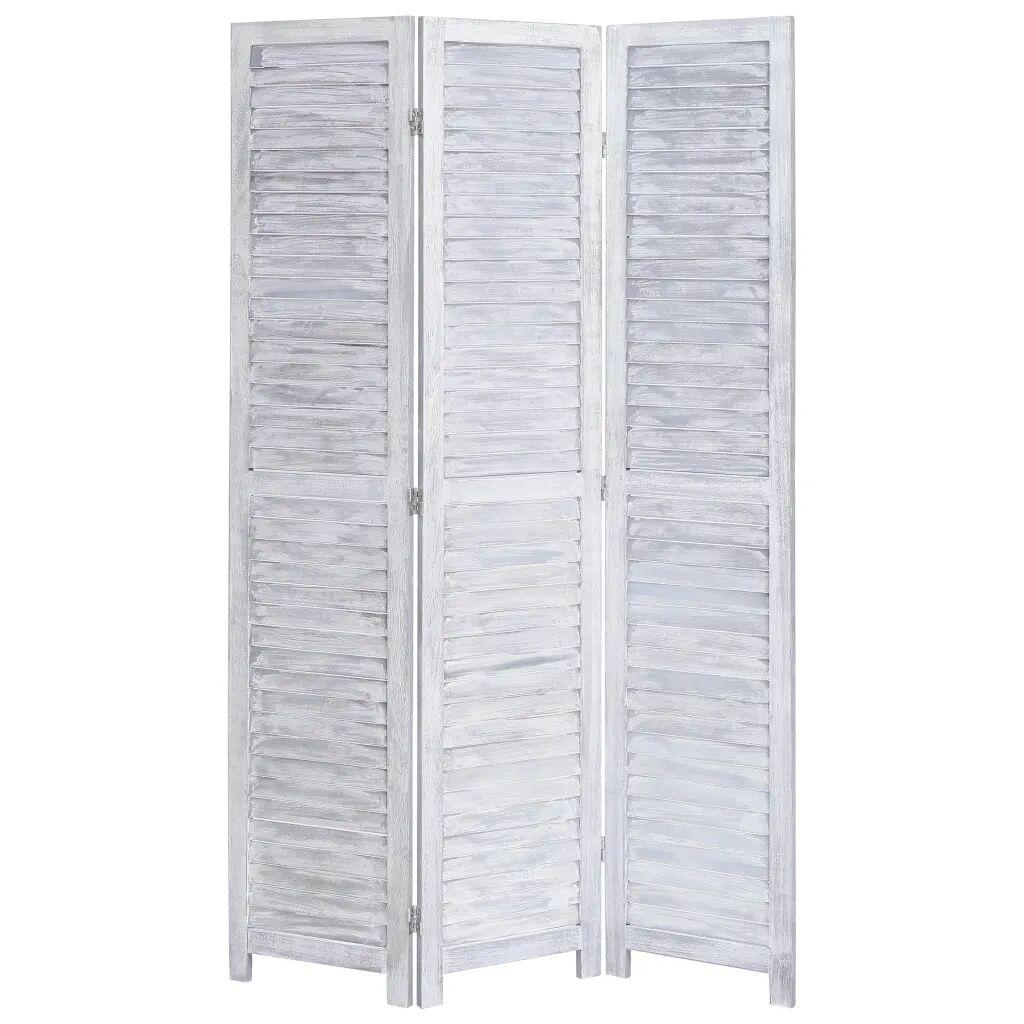 vidaXL Romdeler 3 paneler grå 105x165 cm tre