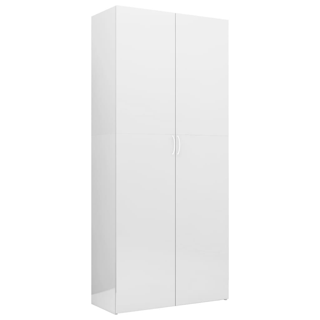 vidaXL Oppbevaringsskap høyglans hvit 80x35,5x180 cm sponplate