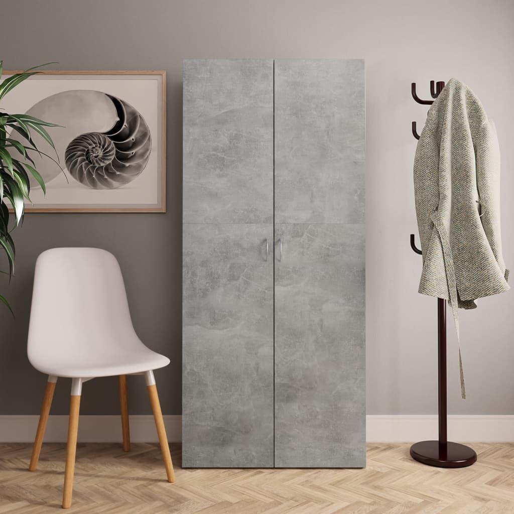 vidaXL Skoskap betonggrå 80x35,5x180 cm sponplate