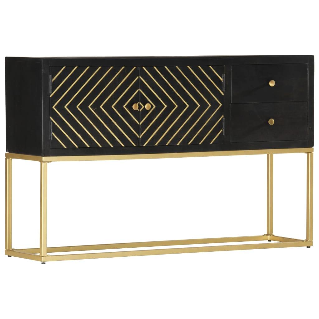 vidaXL Sidebord svart og gull 120x30x75 cm heltre mango