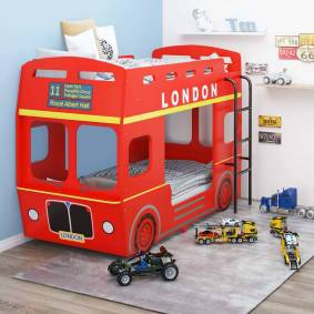 vidaXL Køyeseng London buss rød MDF 90x200 cm
