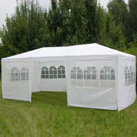 HI Paviljong med sidevegger 3x6 m hvit