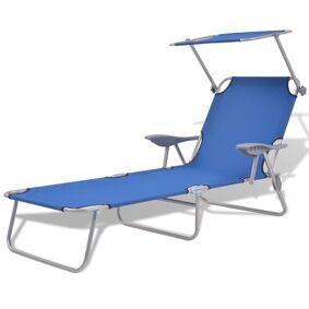 vidaXL Utendørs solseng med solskjerm stål blå