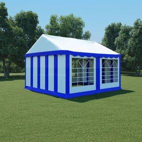 vidaXL Hagetelt PVC 4x4 m blå og hvit
