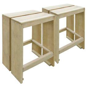 vidaXL Utendørs barstoler 2 stk impregnert furu
