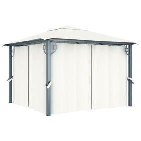 vidaXL Paviljong med gardin 300x300 cm kremhvit aluminium