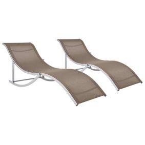 vidaXL Sammenleggbare solsenger 2 stk gråbrun textilene