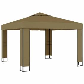 vidaXL Paviljong med dobbelt tak 3x3x2,7 m gråbrun 180 g/m²