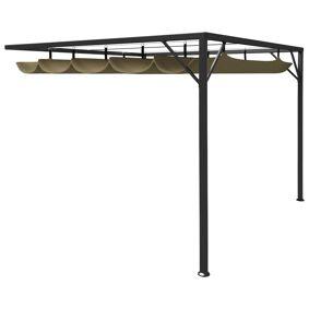 vidaXL Paviljong for vegg med uttrekkbart tak 3x3 m gråbrun 180 g/m²
