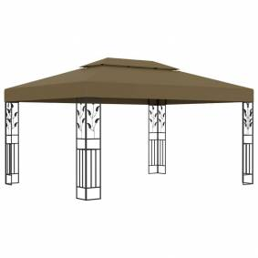 vidaXL Paviljong med dobbelt tak 3x4 m gråbrun 180 g/m²
