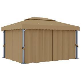 vidaXL Paviljong med gardin 4x3 m gråbrun aluminium