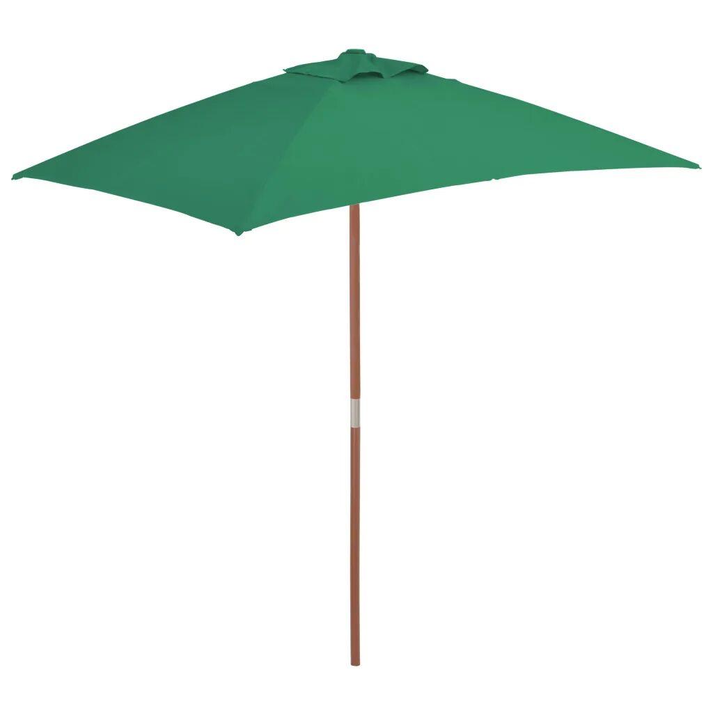 vidaXL Parasoll med trestang 150x200 cm grønn