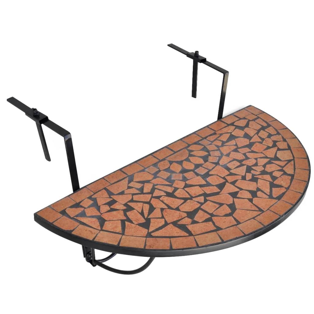 vidaXL Hengende balkongbord terrakotta mosaikk