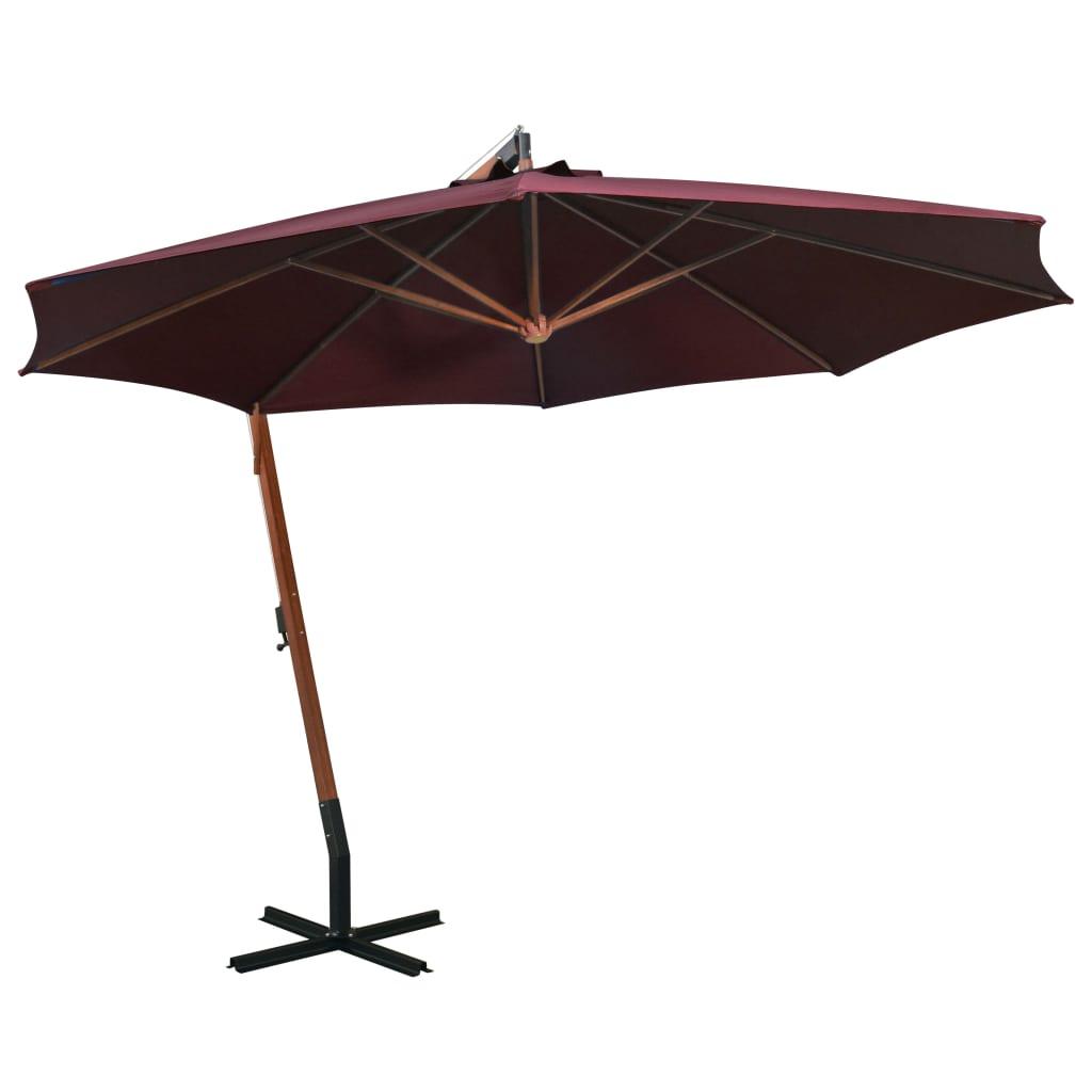 vidaXL Hengende parasoll med stolpe vinrød 3,5x2,9 m heltre gran