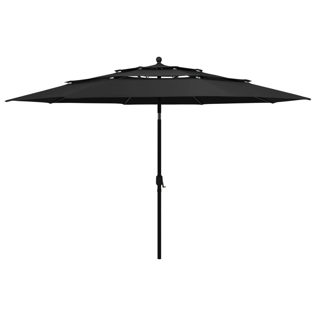 vidaXL Parasoll med aluminiumsstang 3 nivåer 3,5 m svart