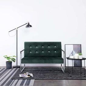vidaXL 2-seters sofa med armlene mørkegrønn krom og fløyel