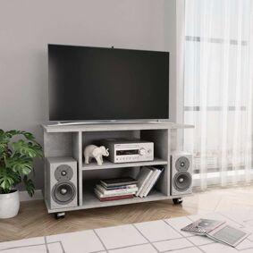 vidaXL TV-benk med hjul betonggrå 80x40x40 cm sponplate
