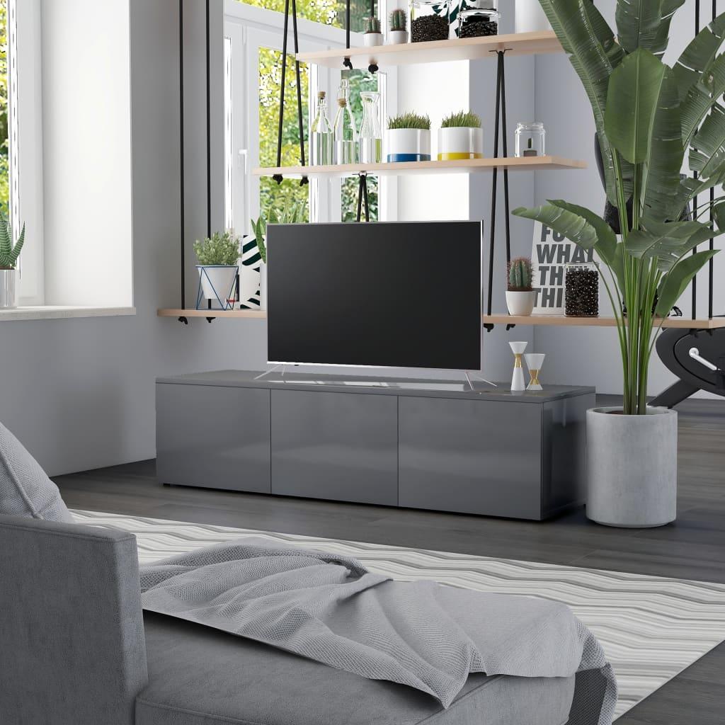 vidaXL TV-benk høyglans grå 120x34x30 cm sponplate
