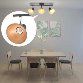 vidaXL Taklampe for 3 pærer E27 svart og gull