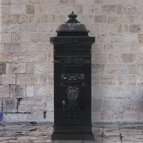 vidaXL Postkasse på søyle aluminium gammeldags rustbestandig svart