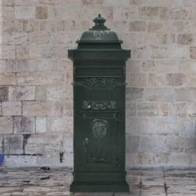 vidaXL Postkasse på søyle aluminium gammeldags rustbestandig grønn