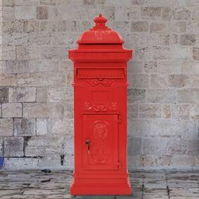 vidaXL Postkasse på søyle aluminium gammeldags rustbestandig rød