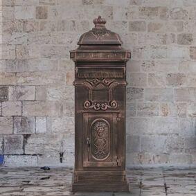vidaXL Postkasse på søyle aluminium gammeldags rustbestandig bronse
