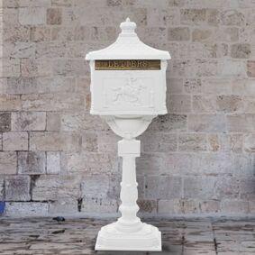 vidaXL Postkasse på sokkel aluminum gammeldags rustbestandig hvit