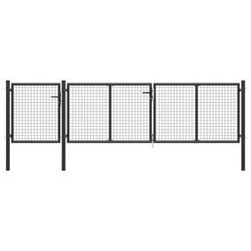 vidaXL Hageport stål 400x75 cm antrasitt