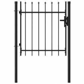 vidaXL Hageport med en dør og spisser stål 1x1 m svart