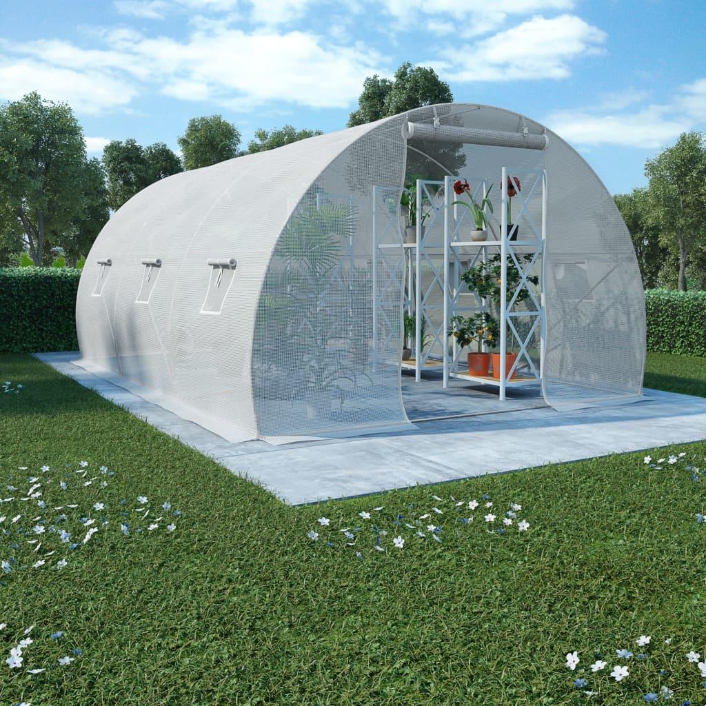 vidaXL Drivhus med stålfundament 13,5m² 450x300x200 cm
