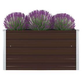 vidaXL Forhøyet plantekasse 100x100x45 cm galvanisert stål brun