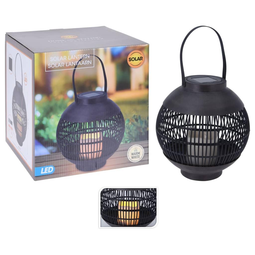 ProGarden Soldrevet LED-rottinglykt med stearinlys svart